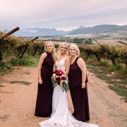 bride and bridesmaids, winelands