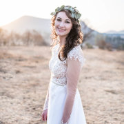 bride, flower crown, lace, wedding dress