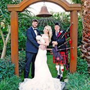 bagpiper, bride and groom, bride and groom