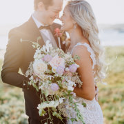 bouquets, bride and groom, bride and groom