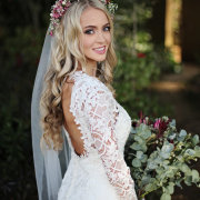 flower crown, lace, wedding dress