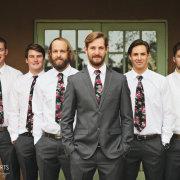suit, floral tie