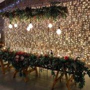 fairy lights, main table, naked bulbs