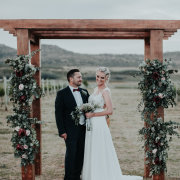 bride and groom, bride and groom, wedding arch