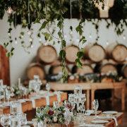 hanging greenery, wedding decor