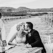 bride, groom, kiss