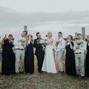 bouquets, bride, brides maids, groom, groomsmen