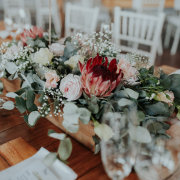 flowers, proteas and roses, table decor
