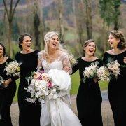 bouquet, bridesmaids dress, black