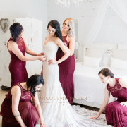 bride, bridesmaids, bridesmaids, getting ready