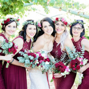 bride, bride and bridesmaids, flowers