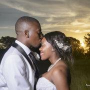bride, groom, hair, kiss