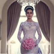 lace wedding dress, bouquet