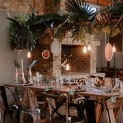 hanging decor, naked bulbs, table decor, table decor