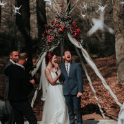 forest ceremony, wedding arch