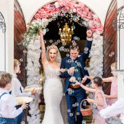 bride and groom, bride and groom, bubbles, confetti