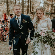 bouquets, bride and groom, bride and groom, confetti
