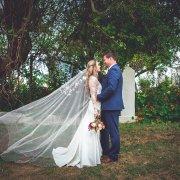 bride and groom, veil
