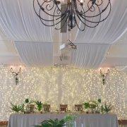 chandelier, fairy lights, table decor
