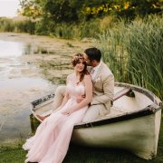 boat, bride and groom
