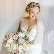 bouquet, hair and makeup, proteas