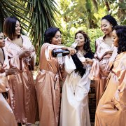 bride and bridesmaids, champagne