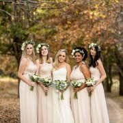 brides maids dresses, flower crowns