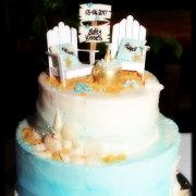 beach, cake