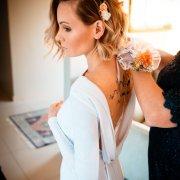 wedding dress, curls
