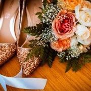 bouquet, heels, wedding shoes
