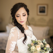 hairstyle, lace, wedding dress