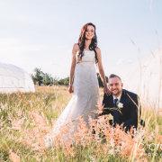bride, groom, landscape