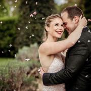 beads, confetti, makeup, wedding dress