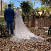 arch, outside ceremony, veil, wedding arch