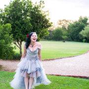 grey, wedding dress