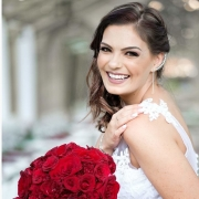 bouquets, bride, red roses