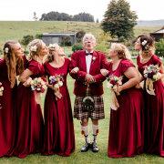 bridesmaids dressses, kilt, red