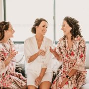 bride and bridesmaids, getting ready