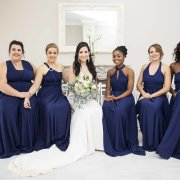 bride and bridesmaids, bridesmaids dresses, royal blue