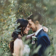 bride, greenery, groom