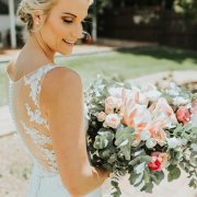 bouquet, bride, proteas and roses