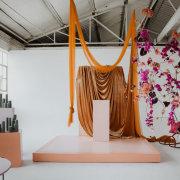 draping, florals, florals, indoor ceremony
