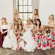 bride and bridesmaids, flower girls