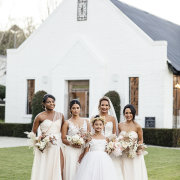 bride, bridesmaids, bridesmaids, flower girl