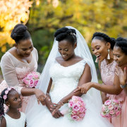 bouquets, bride and bridesmaids, roses