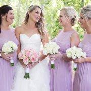bouquets, bride and bridesmaids, bridesmaids dresses, mauve, roses