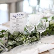 greenery, menu, table decor