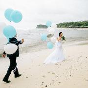 beach wedding, bride, groom