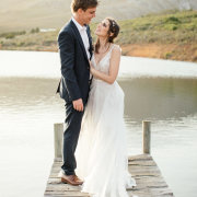 bride and groom, mountain, pier