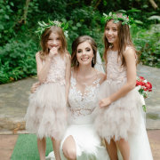 bride, flower girls